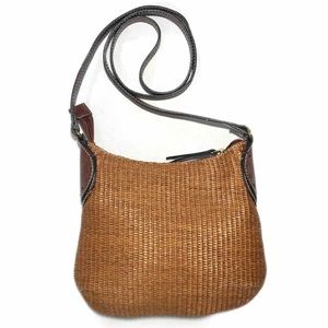 Fossil Straw Crossbody Brown Leather Vintage